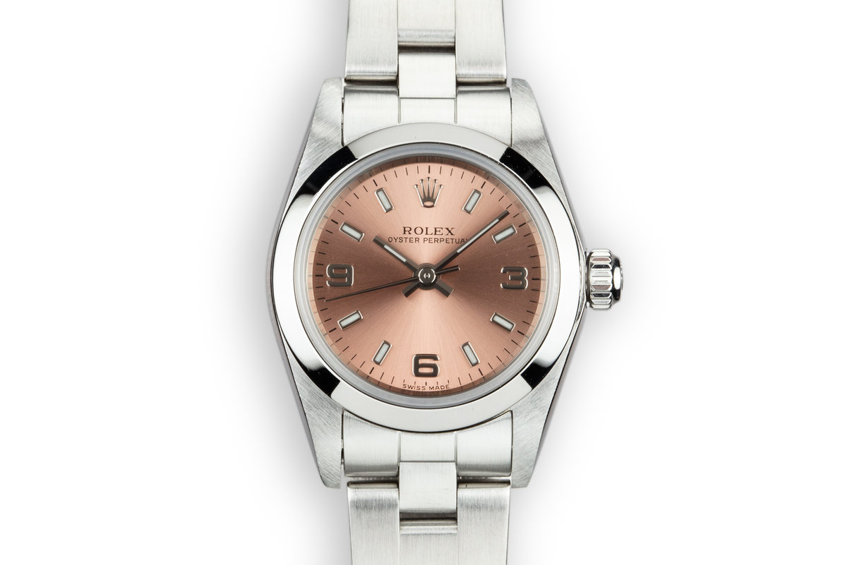 2003 Rolex Ladies Oyster Perpetual 76080 Salmon Dial with Box and Papers photo, #0