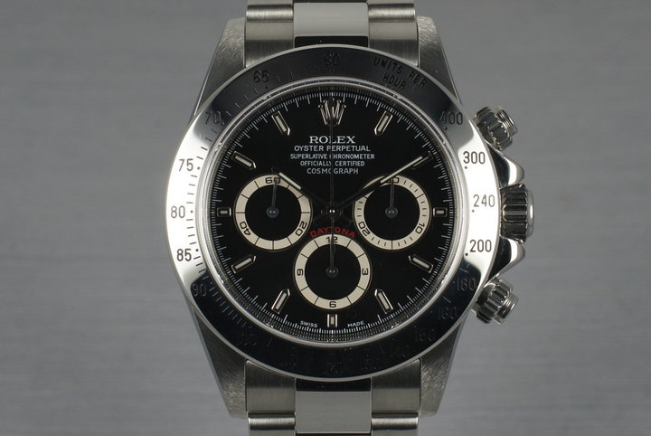 1999 Rolex SS Zenith Daytona 16520 Black Dial with Box and Papers photo
