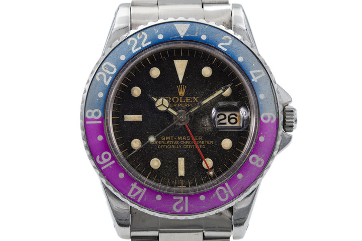 1963 Rolex GMT 1675 PCG Gilt UNDERLINE Dial with and Fuchsia Insert and Papers photo