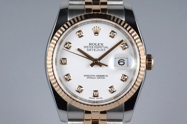 2015 Rolex Two Tone Rose Gold DateJust 116231 Factory White Diamond Dial with Box and Papers photo