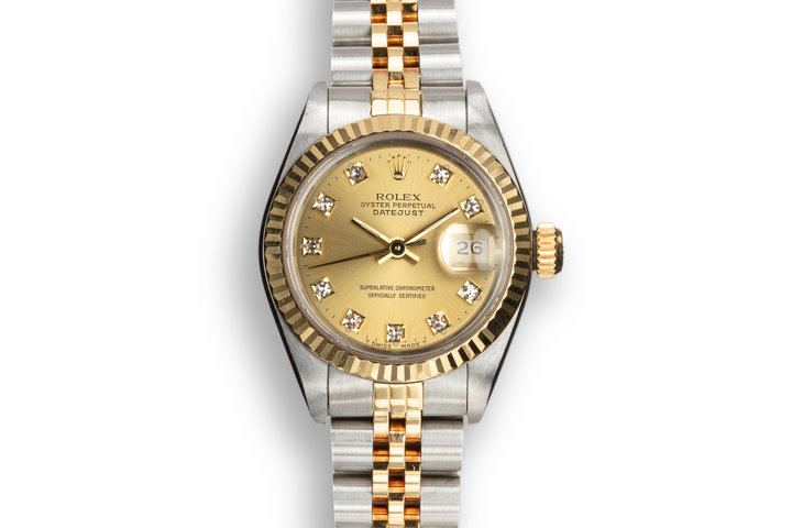 1990 Rolex Two-Tone Ladies DateJust 69173 Champagne Diamond Dial photo