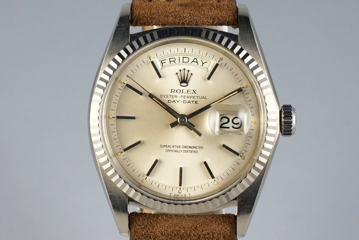 1970 Rolex WG Day-Date 1803 Silver Cream Dial with Double Punched Papers photo