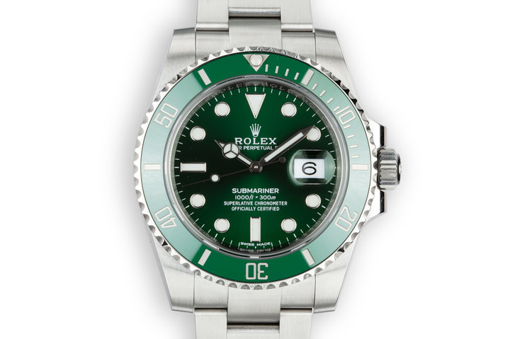 "2018 Rolex Green Submariner ""Hulk"" 116610LV with Box and Papers photo"