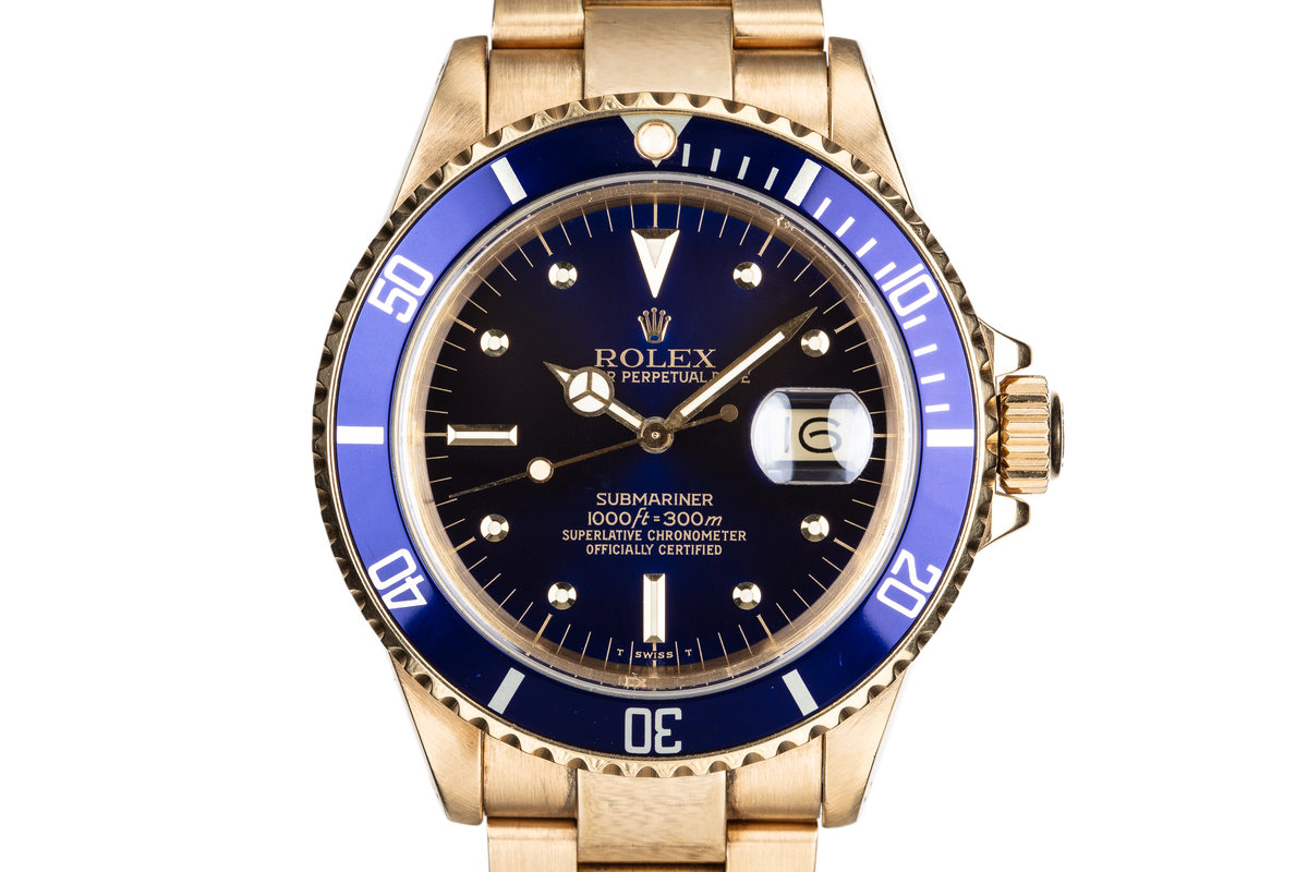 1988 Rolex 18K Gold Submariner 16808 Blue Nipple Dial with Box and Papers photo, #0