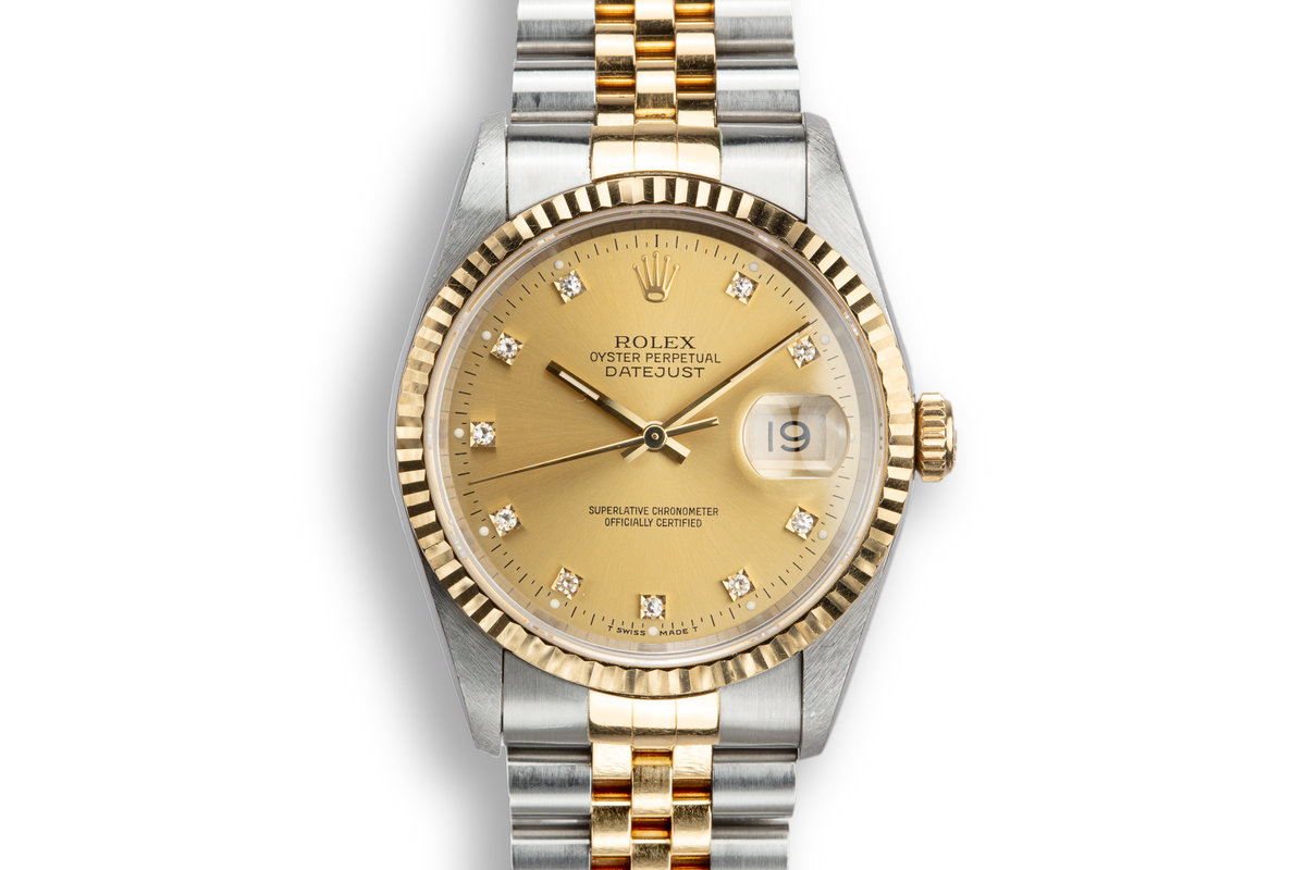 1995 Rolex Two-Tone DateJust 16233G Champagne Diamond Dial with Box and Papers photo, #0