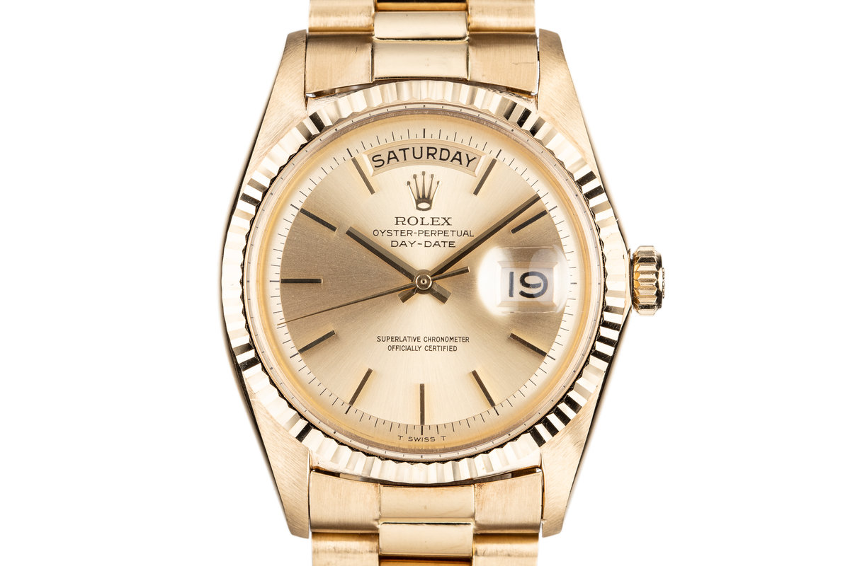 1967 Rolex 18K Gold Day-Date 1803 Gold No Lume Dial with Box and Double Punched Papers photo, #0