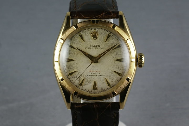 "1952 Rolex 18K Oyster Perpetual 6085 with red ""officially"" on the dial photo"