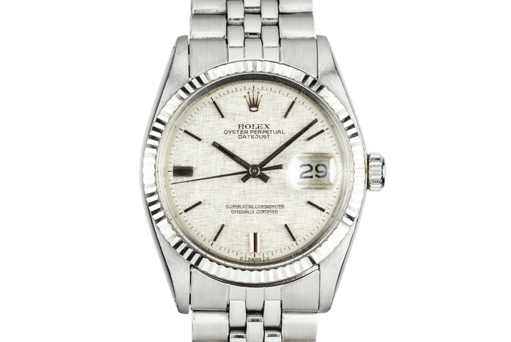 1972 Rolex DateJust 1601 with No Lume Silver Linen Sigma Dial photo