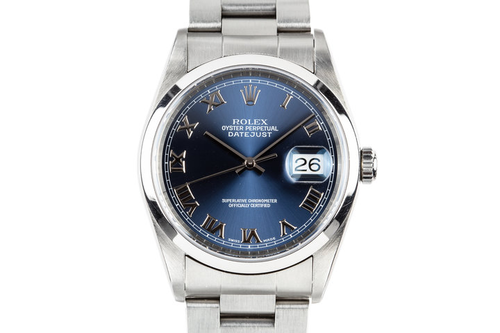 1999 Rolex DateJust 16200 Blue Roman Numeral Dial with Service Papers photo