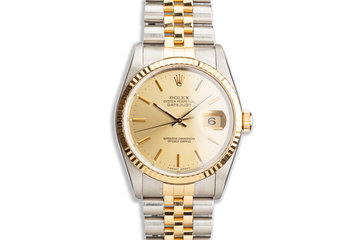 1990 Rolex Two-Tone DateJust 16233 Gold Dial photo
