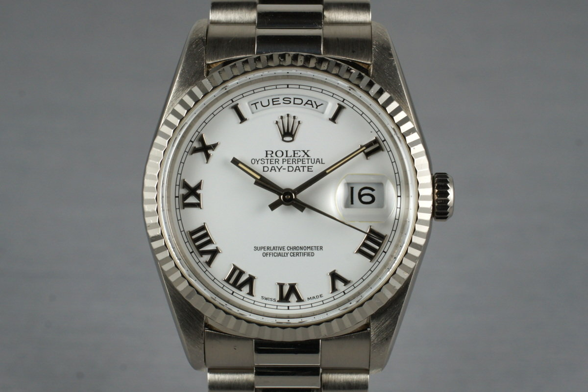 1999 Rolex WG Day-Date 18239 with White Roman Dial photo, #0