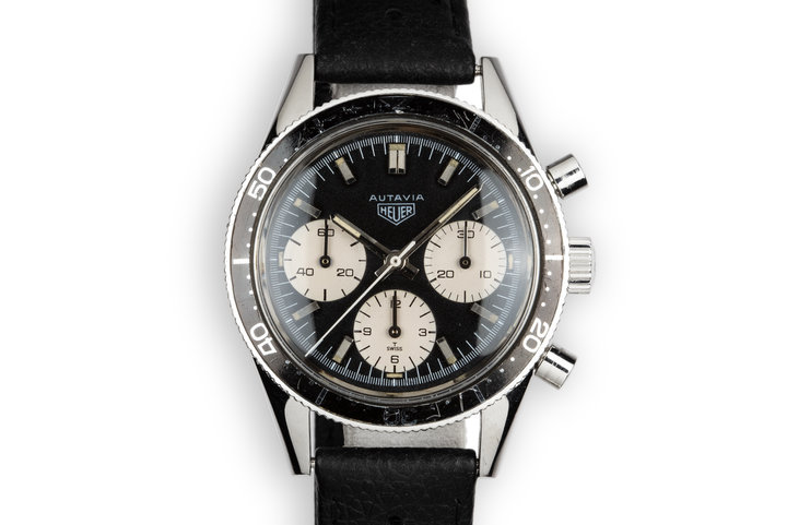 "1968 Heuer Autavia 2446 ""Jochen Rindt"" with Service Papers photo"