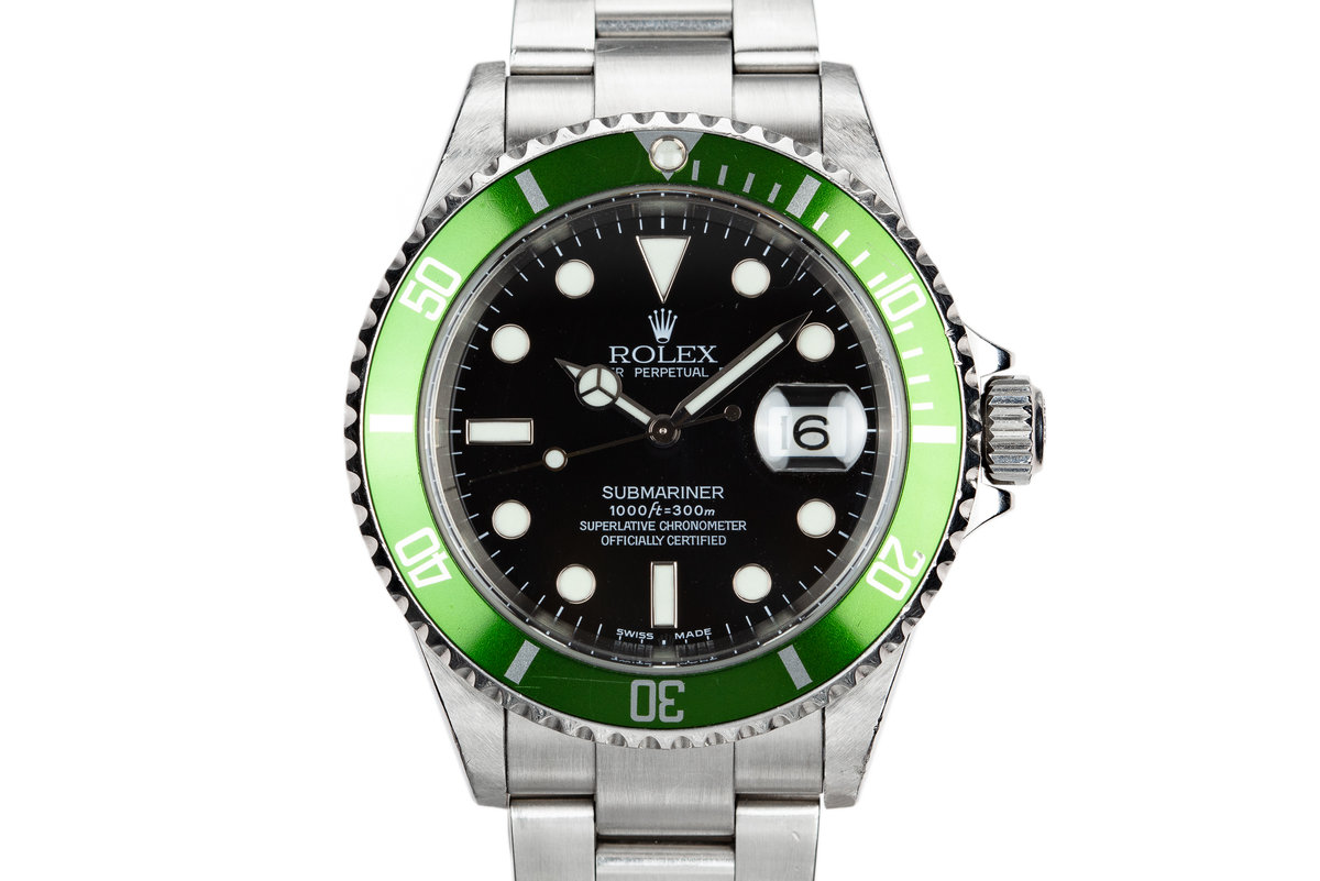 2003 Rolex Anniversary Green Submariner 16610LV Mark 1 Dial with Flat 4 Bezel photo, #0
