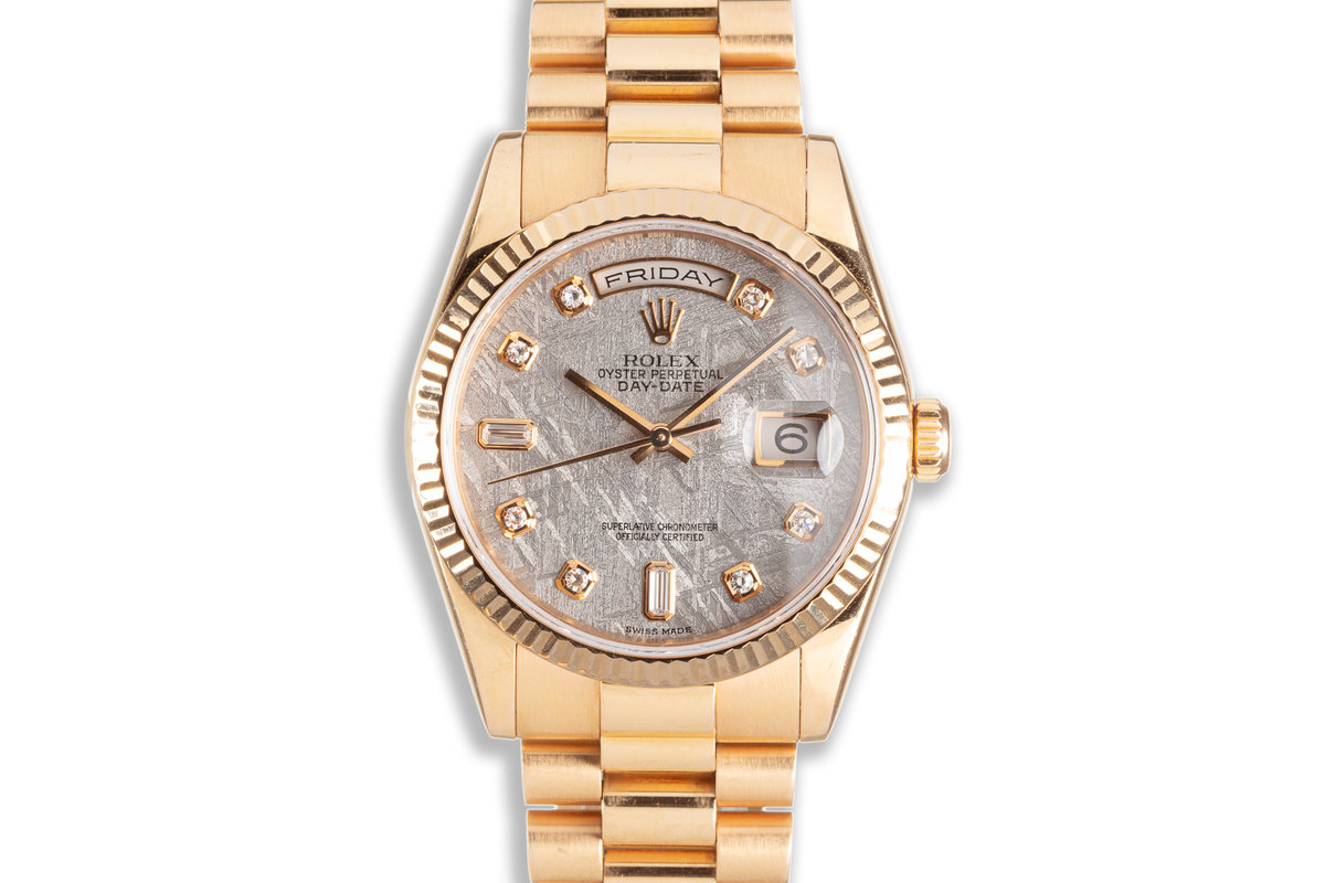 2001 Rolex 18K Rose Gold Day-Date 118235 Diamond Meteorite Dial with Box & Service Papers photo, #0