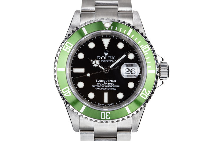 2003 Rolex Green Anniversary Submariner 16610LV MK I Dial with Box and Papers photo