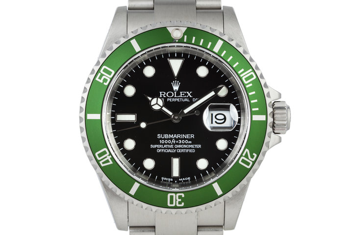 2003 Rolex Green Submariner 16610LV Mark 1 dial and Flat 4 Bezel with Box and Papers photo