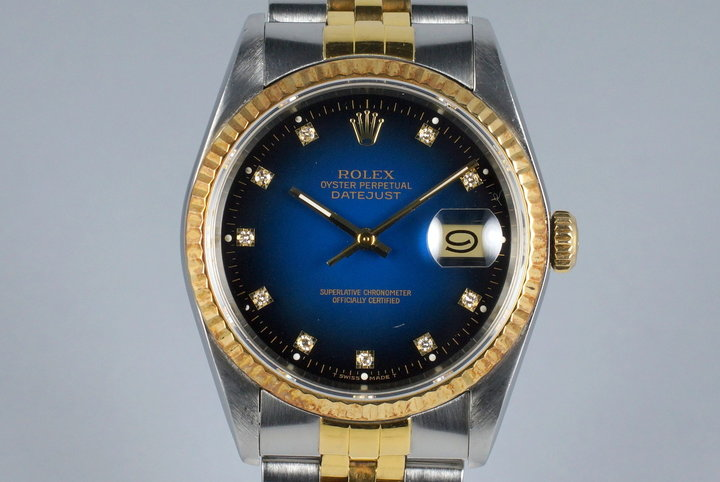 1988 Rolex Two Tone DateJust 16233 Factory Blue Vignette Diamond Dial photo
