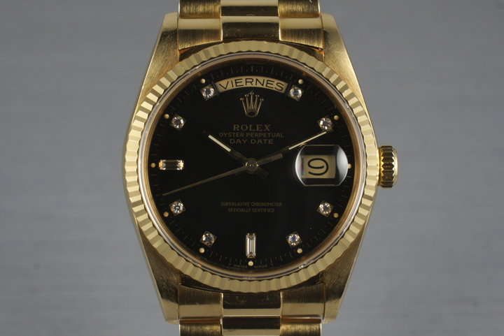 1985 Rolex President 18038 with Black Diamond Dial and Box & Papers photo
