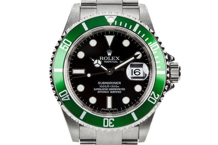 2007 Rolex Green Submariner 16610LV with Box and Papers photo