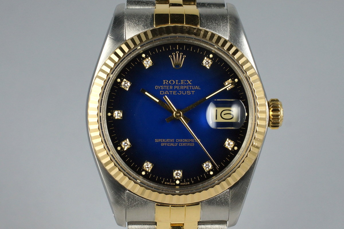 5c832267ec5 1986 Rolex Two Tone DateJust 16013 Factory Blue Vignette Diamond Dial with  Box and Papers photo