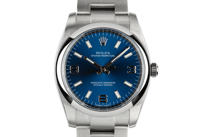 2017 Rolex Oyster Perpetual 114200 with Blue 3 6 9 Dial photo