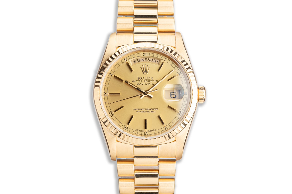 1999 Rolex 18K YG Day-Date 18238 with Gold Stick Marker Dial photo, #0