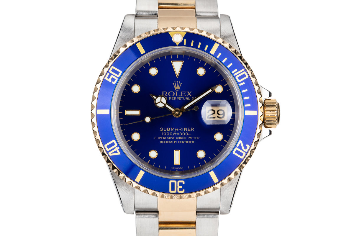 1999 Rolex Two Tone Submarinwer 16613 Blue SWISS Only Dial with Box and Papers photo, #0