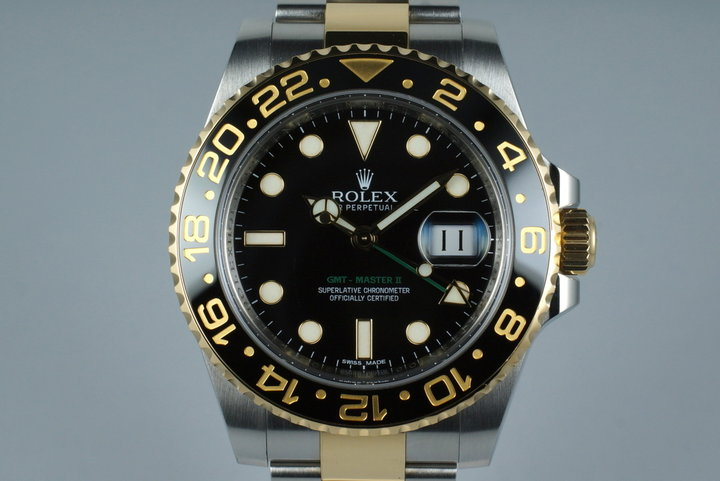 2013 Rolex Two Tone GMT II 116713 with Box and Papers photo
