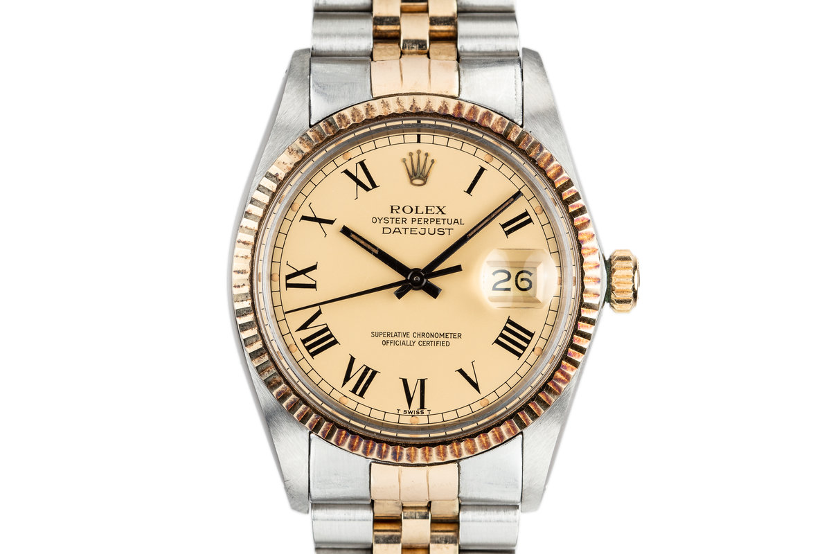 "1980 Rolex Two-Tone DateJust 16013 With Matte Gold ""Buckley"" Dial photo, #0"