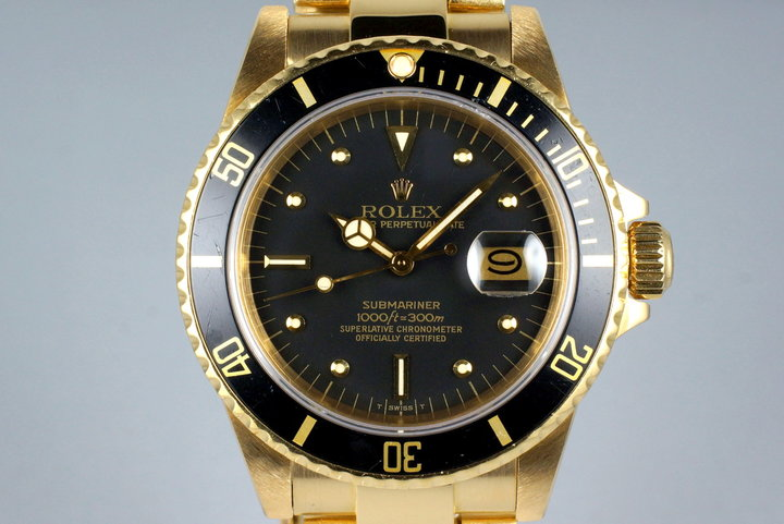 1983 Rolex YG Submariner 16808 Black Nipple Dial photo