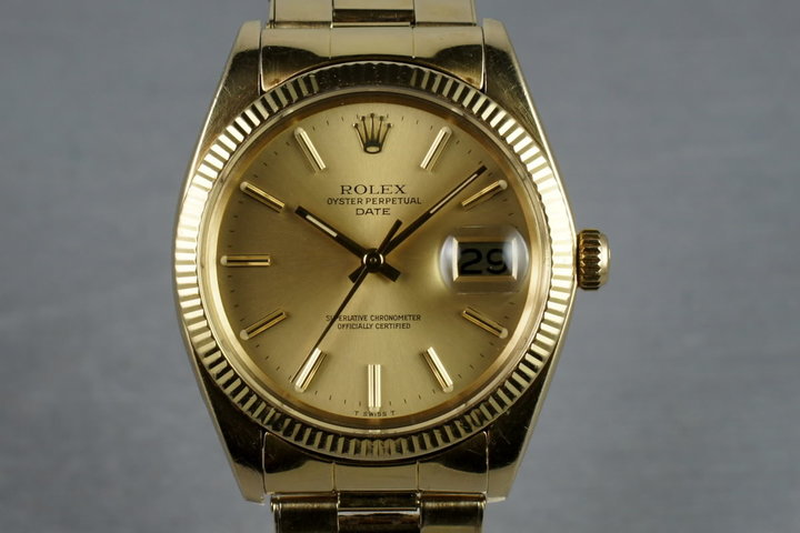 1980 Rolex 14K Date 1503 with riveted 57 end link bracelet photo