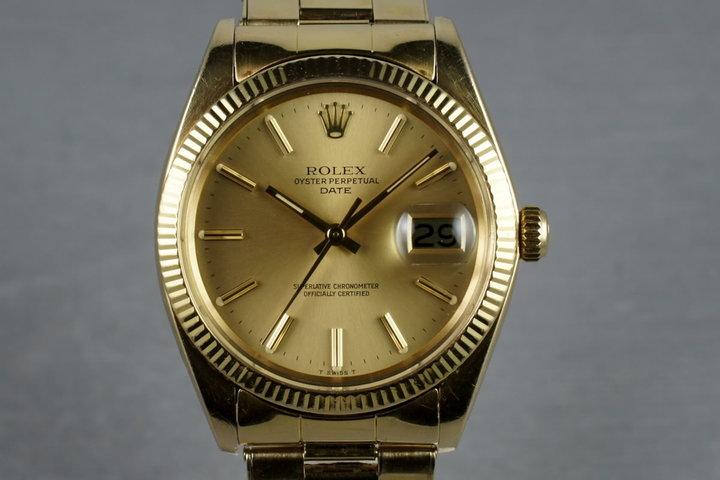 1980 Rolex 14K Date 1503 with riveted 57 end link bracelet photo