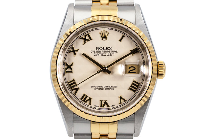 2003 Rolex Two Tone DateJust 16233 Cream Roman Pyramid Dial photo