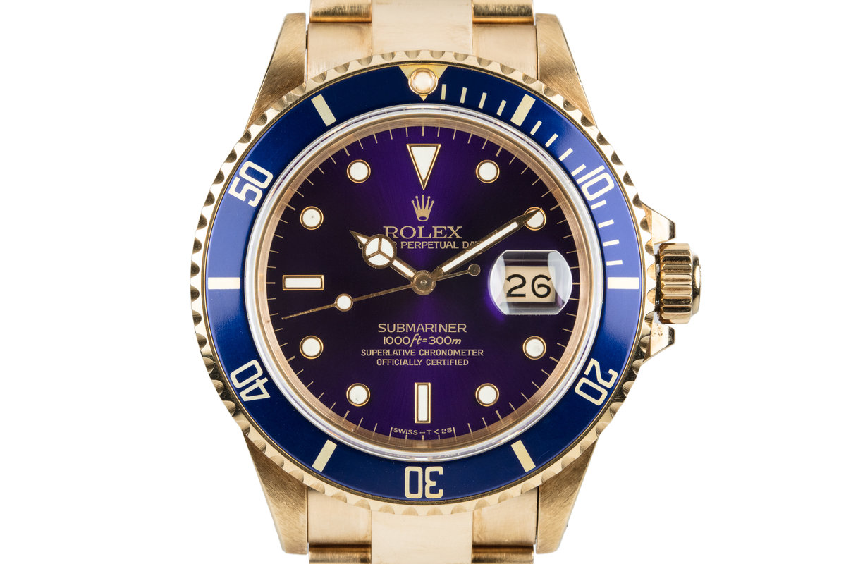 1987 Rolex 18K YG Submariner 16808 with Box and Papers photo, #0