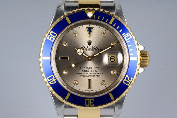2002 Rolex Two Tone Submariner 16613 Silver Serti Dial photo