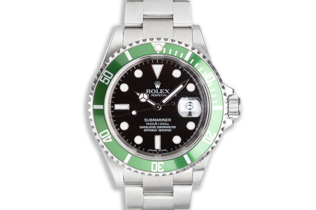2006 Unpolished Rolex Anniversary Green Submariner 16610LV Box and Papers photo, #0