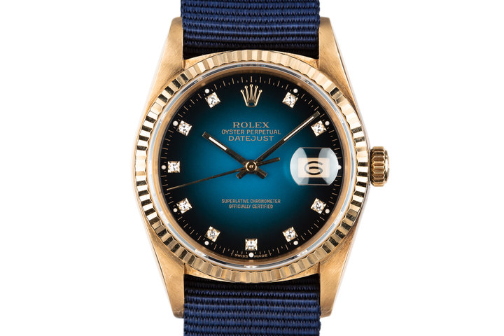 1983 Rolex 18K YG DateJust 16018 with Blue Vignette Diamond Dial photo
