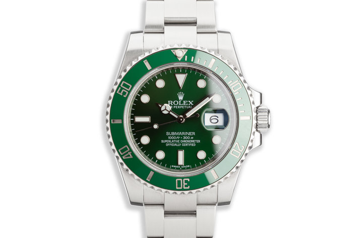 "2014 Rolex Green Submariner 116610LV ""Hulk"" with Box and Card photo"