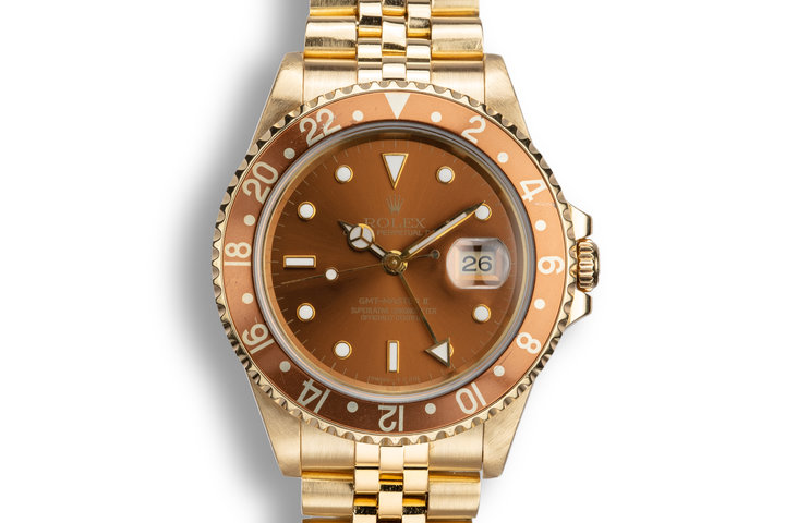 "1993 Rolex 18K YG GMT-Master II 16718 ""Rootbeer"" Dial photo"