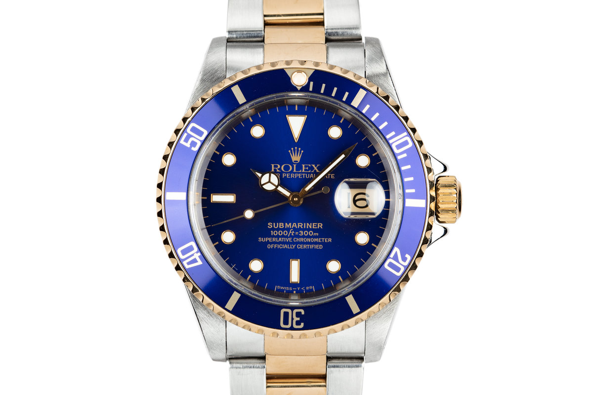1997 Rolex Two-Tone Submariner 16613 Blue Dial with Box and Papers photo, #0