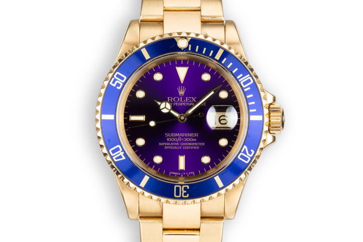 1989 Rolex 18K YG Submariner 16618 Purple Dial photo