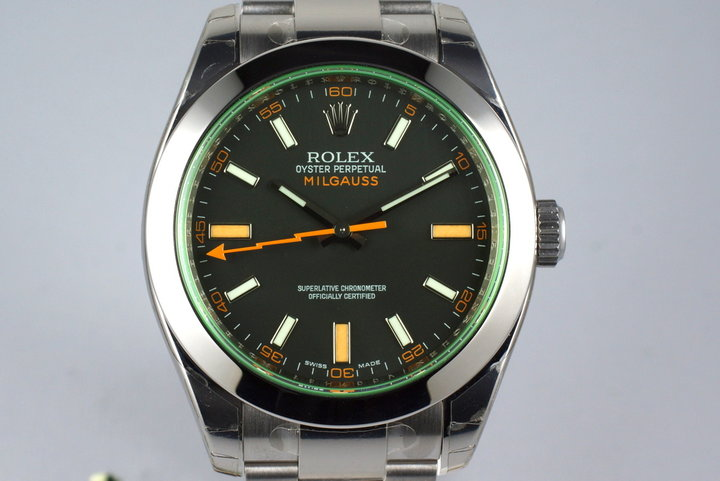 2009 Rolex Milgauss Green 116400V with Box and Papers MINT with Stickers photo