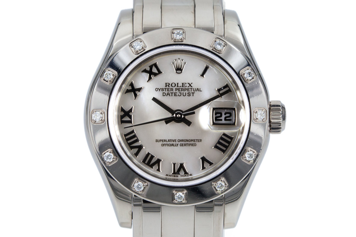 2001 Rolex Ladies WG Pearlmaster Datejust 80319 Mother of Pearl Dial and 12 Diamond Bezel photo, #0