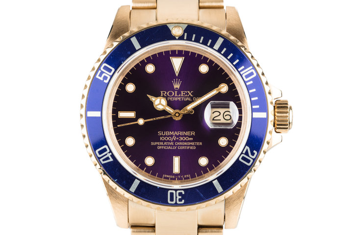 1985 Rolex 18K Submariner 16808 Purple Dial photo