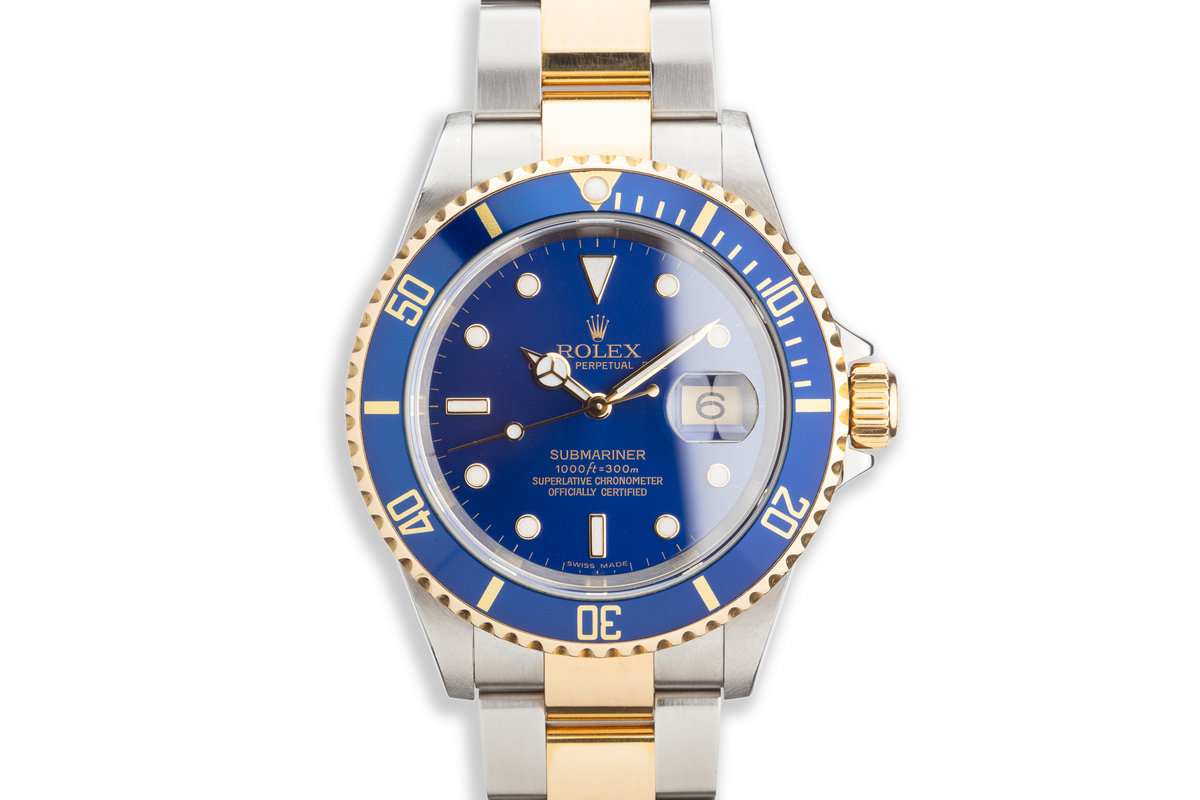 2005 Rolex Two Tone Blue Submariner 16613 with Box and Papers photo, #0