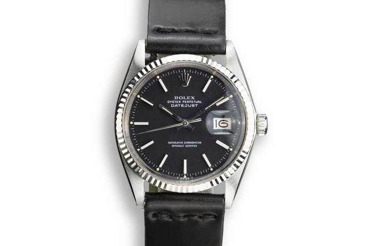 "1972 Rolex DateJust 1601 Black ""Confetti"" dial with Papers photo"