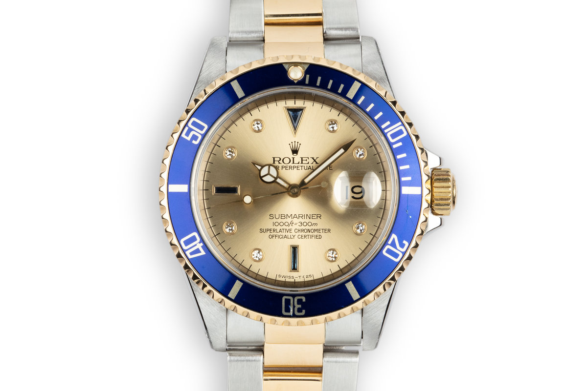 1991 Rolex Two-Tone Submariner Serti Dial with Box and Papers photo, #0