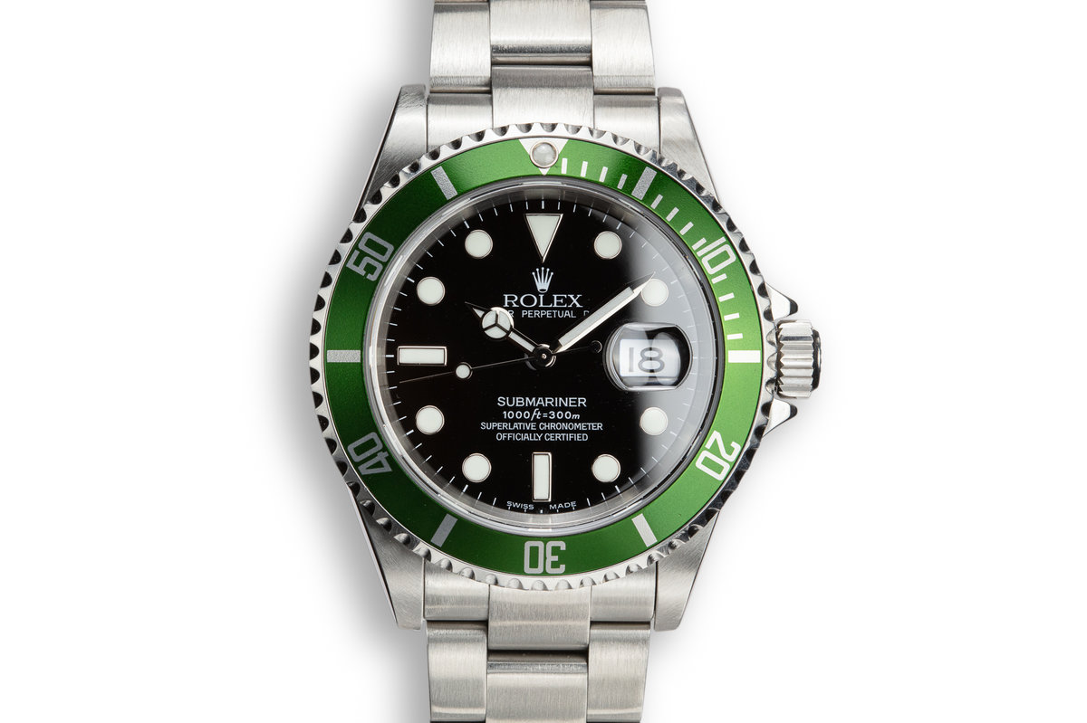 2003 Rolex Anniversary Green Submariner 16610LV with Box and Papers and Mark 1 Dial photo, #0