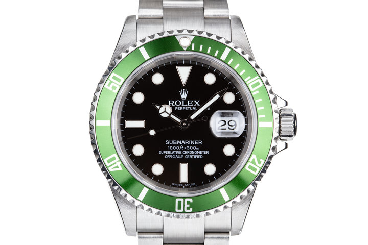 2003 Rolex Green Submariner 16610LV with Box and Papers photo