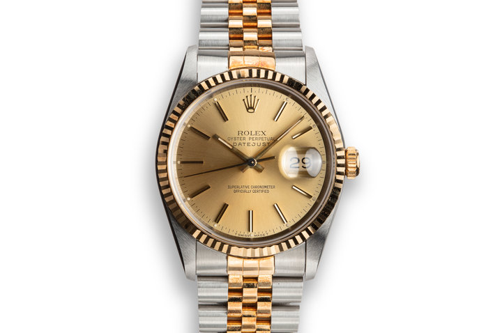 1991 Rolex Two-Tone DateJust 16233 Champagne Dial with Rosy Case Patina photo
